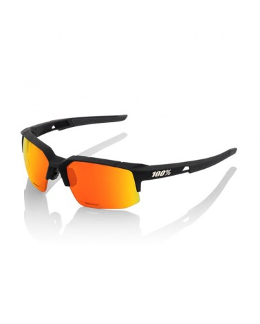 100% Occhiali SpeedCoupe, Soft Tact Black/Hiper Red Multilayer Mirror Lens + Lente Clear