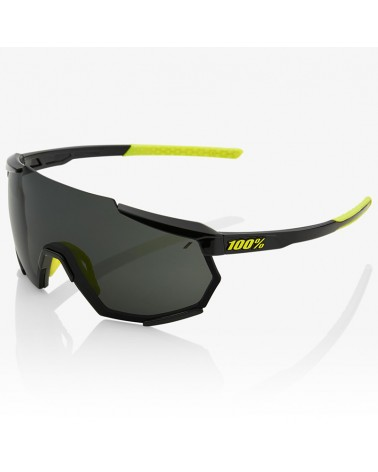 100% Racetrap Glasses Gloss Black - Smoke Lens