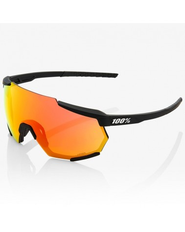100% Racetrap Glasses Soft Tact Black - HiPER Red Multilayer Mirror Lens + Clear Lens
