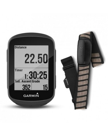 Garmin Edge 130 Bike Computer HR Bundle con Fascia Cardio Premium, Black
