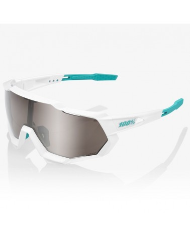100% SpeedTrap Glasses Team BORA White - HiPER Silver Mirror Lens + Clear Lens