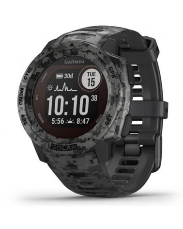 Garmin Instinct Solar Camo Edition Wrist-Based HR GPS Smartwatch, Graphite