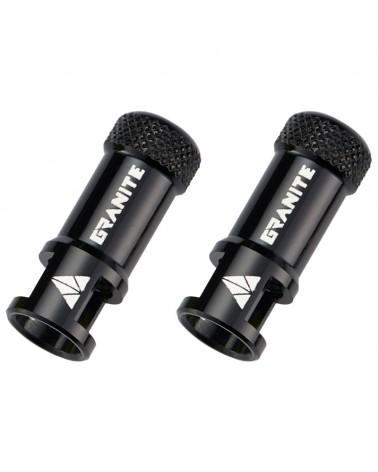 Granite Juicy Nipple - CNC Valve Caps with Core Remover, Black (pair)