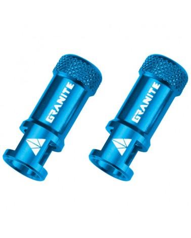 Granite Juicy Nipple - CNC Valve Caps with Core Remover, Blue (pair)