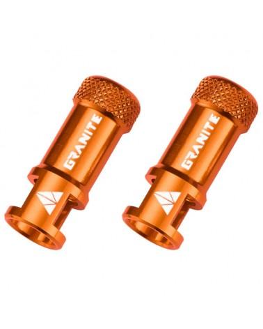 Granite Juicy Nipple - CNC Valve Caps with Core Remover, Orange (pair)