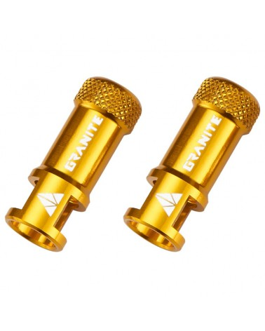 Granite Juicy Nipple - CNC Valve Caps with Core Remover, Gold (pair)