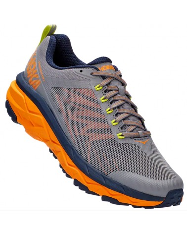 Hoka One One Challenger ATR 5 Men's Trail Running Shoes, Frost Gray/Bright Marigold