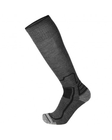 Mico Trek Merinos Medium Weight Long Socks, Melange Anthracite/Black
