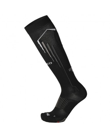Mico Run Oxi-Jet Compression Light Weight Running Socks, Black/Grey