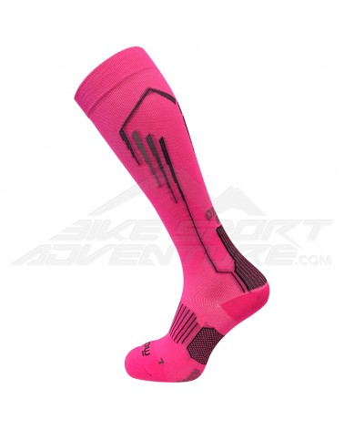 Mico Run Oxi-Jet Compression Light Weight Running Socks, Fuxia Fluo