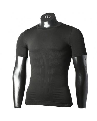 Mico Extra Dry Skintech Seamless Men's Round Neck Short Sleeve Baselayer, Black