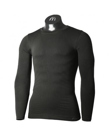 Mico Extra Dry 3D Skintech Seamless Men's Round Neck Long Sleeve Baselayer, Black
