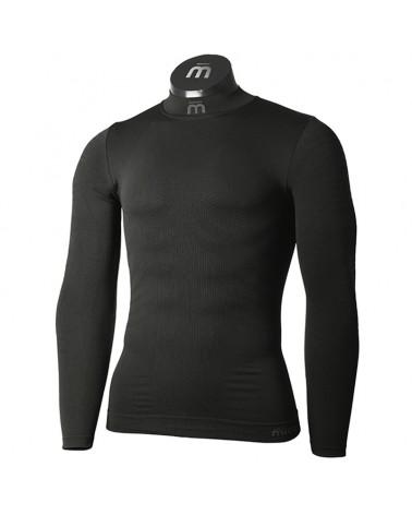 Mico Extra Dry 3D Skintech Seamless Men's Turtle Neck Long Sleeve Baselayer, Black