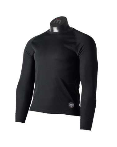 Mico PL Everdry Heavy Weight Men's Round Neck Long Sleeve Baselayer, Black