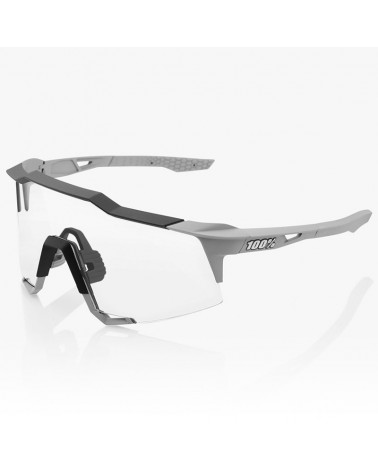 100% SpeedCraft Glasses Soft Tact Stone Grey - HiPER Coral Lens + Clear Lens