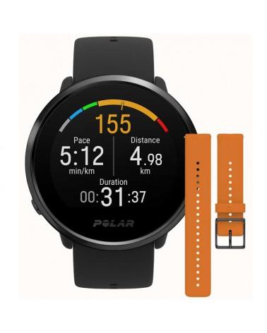 Polar Ignite GPS Fitness Watch Wrist-Based HR Size M/L, Black/Black + Orange Wristbad