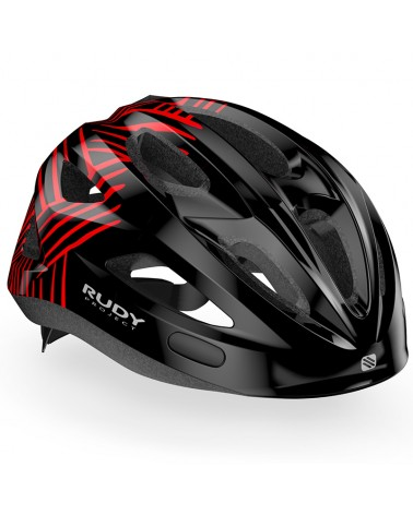 Rudy Project Rocky Kids Cycling Helmet, Black/Red (Shiny)
