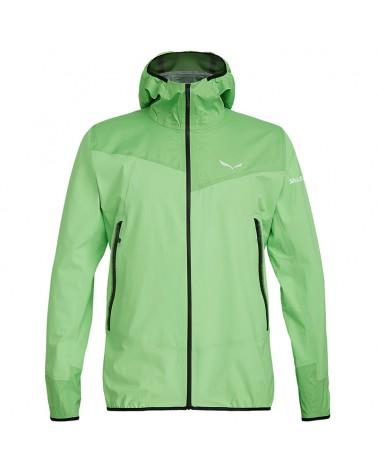 Salewa Agner PTX Powertex 3 Layers Windproof/Waterproof Men's Jacket, Fluo Green