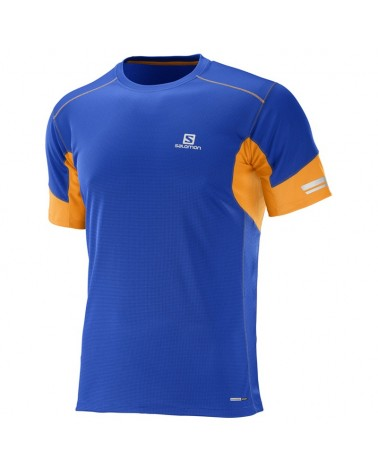Salomon Agile SS Tee Maglia Running Uomo, Surf the Web/Bright Marigold