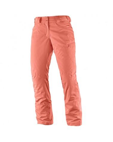 Salomon Fantasy Pant W Long Pantaloni Donna Impermeabili Sci Alpinismo, Fluo Coral Heather
