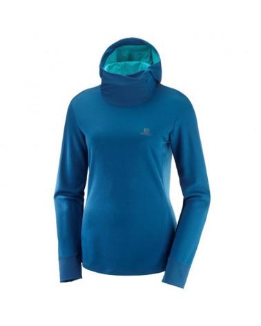 Salomon Agile LS Hoodie W Women's Trail Running Long Sleeve, Poseidon/Heather