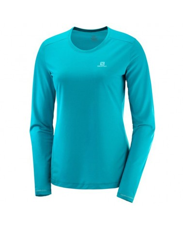 Salomon Agile LS Tee W Women's Trail Running Long Sleeve, Tile Blue