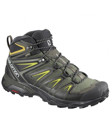 Salomon X Ultra 3 Mid GTX Gore-Tex Men's Trekking Boots, Castor Grey/Black/Green Sulphur