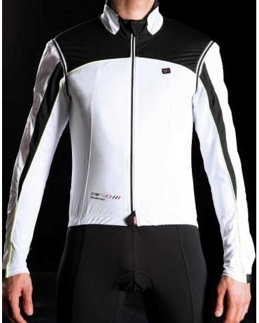 Bi-Bike DNA Classic Giacca Impermeabile Antivento Ciclismo, Bianco/Nero