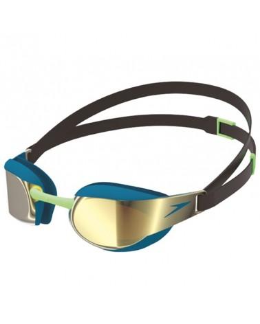 Speedo Fastskin Elite Goggle Mirror Unisex Swimming Goggle, Black/Nordic Teal/Gold