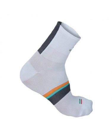 Sportful Calze BodyFit Pro 9 Sock, White/Antrhacite-Green Water-Apricot