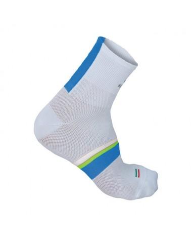 Sportful Calze BodyFit Pro 9 Sock, White/Electric Blue-Yellow Fluo