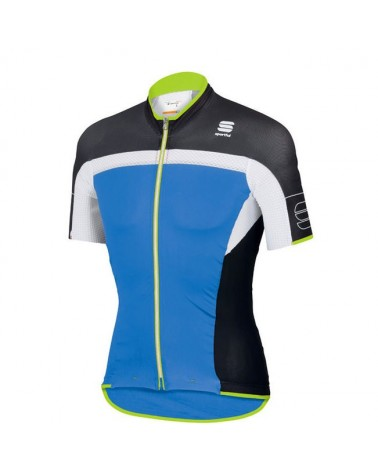 Sportful Maglia Manica Corta Pordoi Jersey, Electric Blue/Black/White/Yellow Fluo