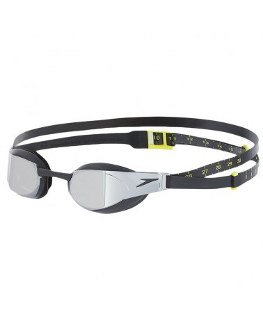 Speedo Occhialini Piscina Unisex Elite Goggle Mirror, Black/Smoke