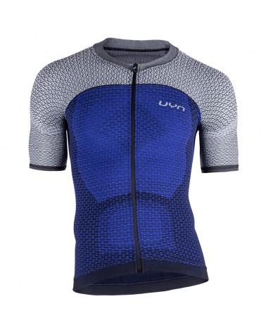 UYN Alpha Biking Men's Cycling Short Sleeve Jersey, Medieval Blue/Sleet Grey