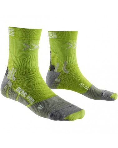 X-Bionic X-Socks Calze Biking Pro Mid, Green Lime/Pearl Grey