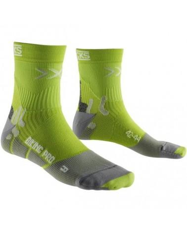 X-Bionic X-Socks Calze Biking Pro Mid, Green Lime/Pearl Grey