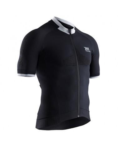 X-Bionic Invent Bike Race Zip SS Men's Cycling Short Sleeve Tee, Opal Black/Arctic