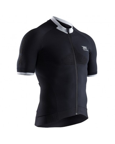 X-Bionic Invent Bike Race Zip SS Men's Cycling Short Sleeve Tee, Opal Black/Arctic