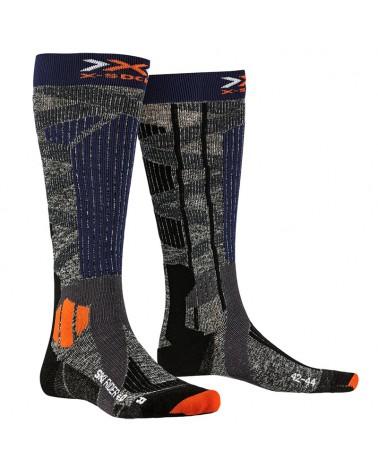 X-Bionic X-Socks Ski Rider 4.0 Ski Socks, Stone Grey/Melange Blue