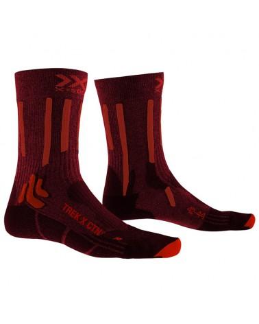 X-Bionic X-Socks Trek X CTN Calze Trekking, Dark Ruby/Fire Red