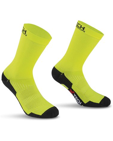 XTech Calze Ciclismo Professional Carbon, Giallo Fluo