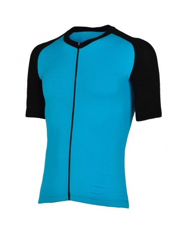 XTech Podium T-Shirt Full Zip Maglia Maniche Corte Uomo, Light Blue/Black (Limited Ed.)