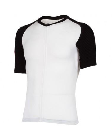 XTech Podium T-Shirt Full Zip Maglia Maniche Corte Uomo, White/Black