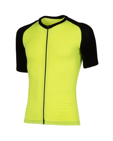 XTech Podium T-Shirt Full Zip Maglia Maniche Corte Uomo, Yellow/Black