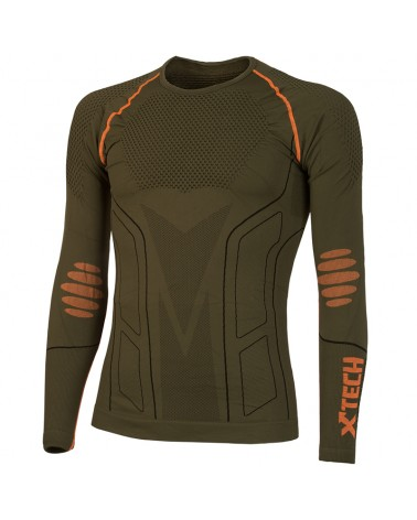 XTech Evolution Round Neck Long Sleeve Base Layer, Green