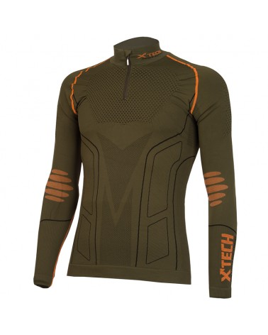 XTech Evolution Turtle Neck Long Sleeve Base Layer with Zip, Green