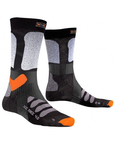 X-Bionic X-Socks X-Country Race 4.0 Winter Sports Socks, Black/Stone Grey Melange