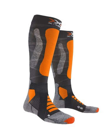 X-Bionic X-Socks Ski Touring Silver Ski Socks, Anthracite Melange/Orange Fluo