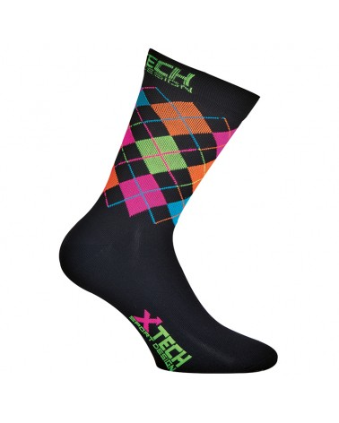 XTech XT82 Calze Ciclismo, Nero/Multicolore