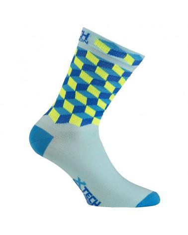 XTech XT117 Ciclyng Socks, Light Blue/Yellow